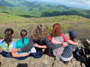 Students Seated on a Mountaintop